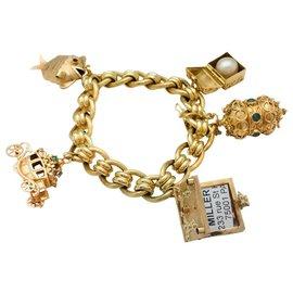 inconnue-Bracelet breloques en or jaune et pierres de couleurs.-Autre