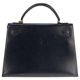 Hermès-hermes kelly 32 saddle with shoulder strap navy blue, Golden Jewelery, In very good shape !-Navy blue