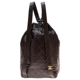 Chanel-Superb Chanel backpack in brown quilted leather in very good condition!-Brown