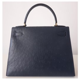 Hermès-Hermes Kelly bag 28 Ostrich-Navy blue
