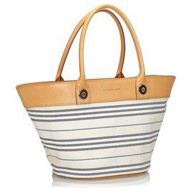Burberry-Burberry White Stripes Canvas Shoulder Bag-White,Multiple colors
