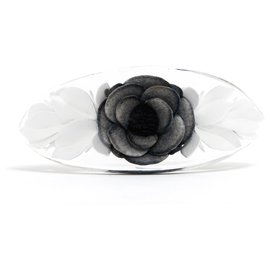Chanel-BLACK CAMELIA HAIRCLIP-Black,White,Other
