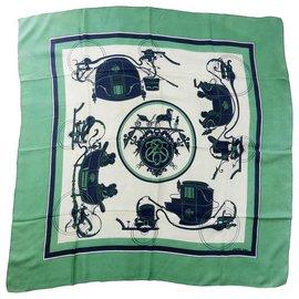 "Hermès-Hermes Rare green and blue Silk scarf 90cm (36"") ""Ex-libris""-White,Blue,Beige,Green,Olive green,Eggshell,Navy blue,Light green,Dark green,Dark blue"