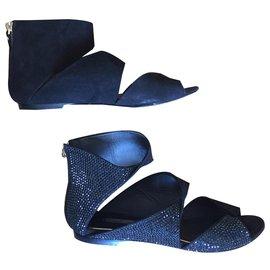 Louis Vuitton-Suede and rhinestone sandals-Black