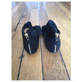 Louis Vuitton-Sandales en daim et strass-Noir