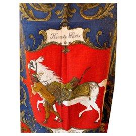 Hermès-Carre 'Scarf Hermes' Turkish Hors hors Turc-White,Red,Golden,Navy blue