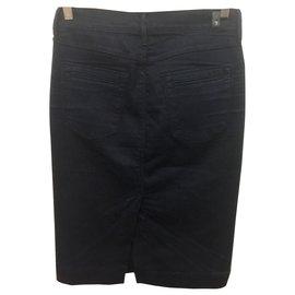 7 For All Mankind-Stretch denim pencil skirt-Navy blue