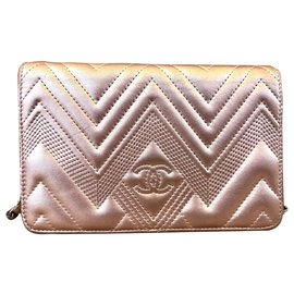 Chanel-wallet on chain-Pink,Metallic