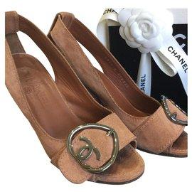 Chanel-CHANEL Chaussures compensées à bouts ouverts-Caramel