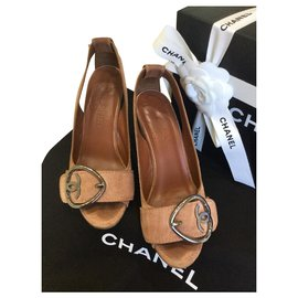 Chanel-CHANEL Wedge Peep-Toe Shoes-Caramel