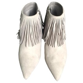 Sam Edelman-Sam Edelman Kandice Grey Fringed Boots.-Grey