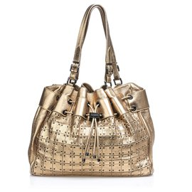 Burberry-Burberry Gold Metallic Warrior Drawstring Tote Bag-Golden