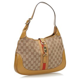 Gucci-Gucci Brown GG Web Canvas Jackie Hobo-Brown,Light brown