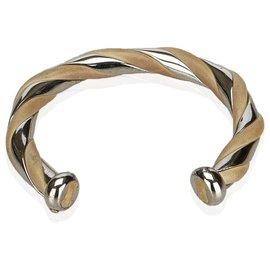 Hermès-Bracelet Hermes en métal argenté et cuir-Marron,Argenté,Beige