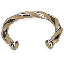 Hermès-Hermes Silver Metal and Leather Bangle-Brown,Silvery,Beige