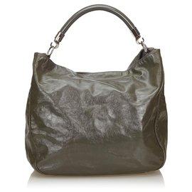 Yves Saint Laurent-Roady YSL en cuir verni gris-Gris