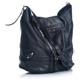 Balenciaga-Balenciaga Black Leather Papier Drop Shoulder Bag-Black