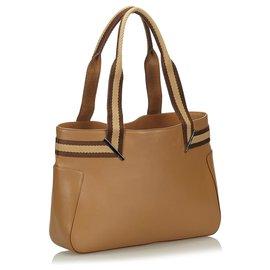 Gucci-Sac cabas en cuir marron à motif Gucci-Marron,Marron clair