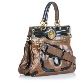 Balenciaga-Balenciaga Brown Leather Moon Satchel-Brown,Black