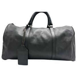 Louis Vuitton-KEEPALL 45 cm cuir epis noir-Noir