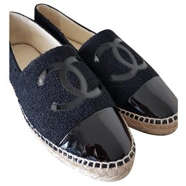 Chanel-CHANEL Espadrille Flats 40/41-Black