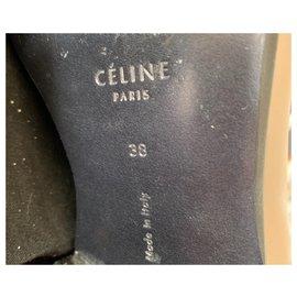 Céline-Paire de mocassin noir et taupe en cuir Celine-Noir
