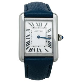 """Cartier-Cartier """"Tank Solo"""" watch in steel on leather.-Other"""