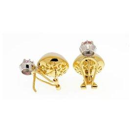 Autre Marque-Boucles d'oreilles en or jaune et blanc 18k / 750 avec perles japonaises et saphirs Roses-Rose