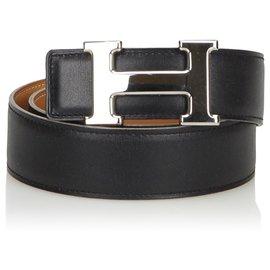 Hermès-Hermes Black Leather Constance Belt-Black,Silvery