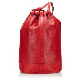 Louis Vuitton-Louis Vuitton Red Epi Randonnée GM-Rouge