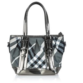 Burberry-Burberry Black Beat Check Lowry Canvas Tote Bag-Black,Grey