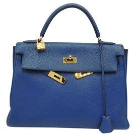 Hermès-HERMES KELLY 32-Bleu