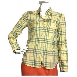 Burberry-Plaid cotton shirt-Yellow
