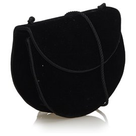 Yves Saint Laurent-Sac bandoulière en velours noir YSL-Noir