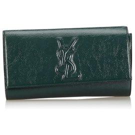 Yves Saint Laurent-YSL Green Belle du Jour Patent Leather Clutch-Green