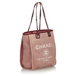 Chanel-Chanel Pink Small Deauville Tote-Pink,Red