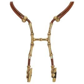 Hermès-Hermes Brown Bambou Halfter Halskette-Braun,Golden