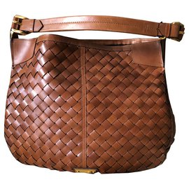 Burberry-BRAIDED LEATHER XL HOBO BAG-Brown
