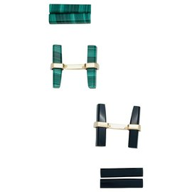 inconnue-Pair of yellow gold cufflinks, malachite and onyx.-Other