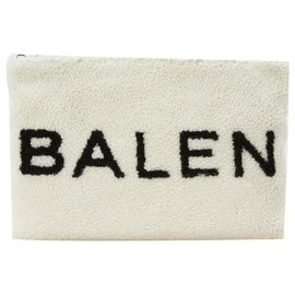 Balenciaga-Pochette logo Balenciaga Shearling-Blanc