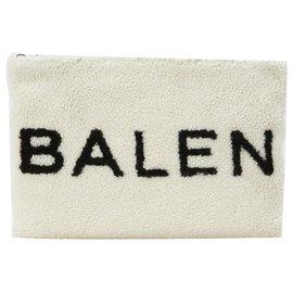Balenciaga-Balenciaga Shearling logo pouch-White
