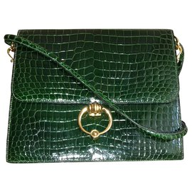 Hermès-Hermès Sequana handbag in green Porosus crocodile + card holder-Dark green