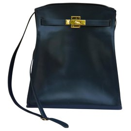 Hermès-Sac Kelly sport-Bleu Marine