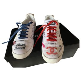 Chanel-CHANEL PHARRELL sneakers Grafiti collection capsule used and worn version-White