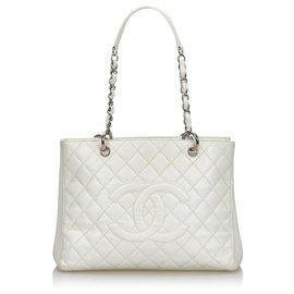 Chanel-Chanel White Caviar Grand Shopping Tote-White