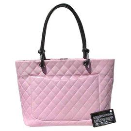 Chanel-cabas Cambon GM-Noir,Rose