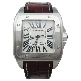 "Cartier-Cartier Uhrenmodell ""Santos"" 100""Stahl auf Leder.-Andere"