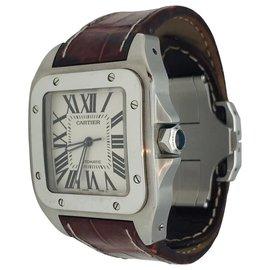"""Cartier-Montre Cartier modèle """"Santos 100"""" en acier sur cuir.-Autre"""