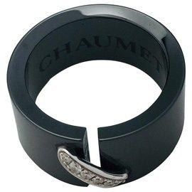 """Chaumet-Bague Chaumet modèle """"Lien"""" en céramique noire et or blanc, diamants.-Autre"""