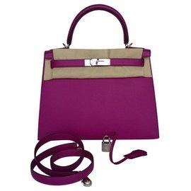 Hermès-Hermès sac à main Kelly Sellier 28 cm Cuir Epsom Rose Pourpre Palladium Full set-Rose